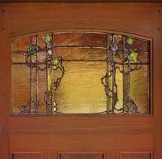 door by Craftsman Door Company - glass by Theodore Ellison Designs Stained Glass Door, Stained Glass Designs, Stained Glass Panels, Stained Glass Patterns, Leaded Glass, Mosaic Glass, Glass Art, Glass Doors, Spring Arts And Crafts