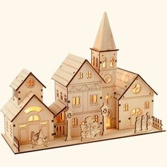 WeRChristmas Pre-Lit Wooden Church Scene Illuminated with 4 Warm LED Lights, 28 cm - Large, White Laser Cutting Service, Wood Cutter, Laser Cutter Ideas, Laser Cutting Machine, Dollhouse Kits, Putz Houses, Glitter Houses, White Led Lights, Christmas Villages