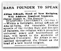 Bahá Founder To Speak