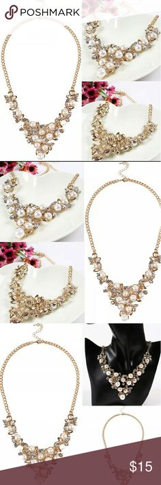 Crystal and Pearl Chunky Statement Necklace Material: Alloy + Rhinestone + Faux pearl Colour: As the picture Size: Necklace length: 54cm Pendant length: 16.5cm Width: 6cm Quantity:1 x Necklace  Occasion: Anniversary, Engagement, Gift, Party, Wedding, Other. This will make you eye-catching in wedding party. It's a perfect accessory, also a good gift to your friends. Note: 1.Some pics look like larger size,please notice the exact items size. 2.Please keep in mind that due to lighting effects…