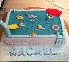 This swimming pool cake I made for my 10 year old daughter's birthday party, it was held at the local swim center and I wanted the cake to reflect the venu Pool Birthday Cakes, 3rd Birthday Parties, Birthday Ideas, Pool Cake, Cool Swimming Pools, Cake Creations, Cake Art, Party Cakes, Cake Designs