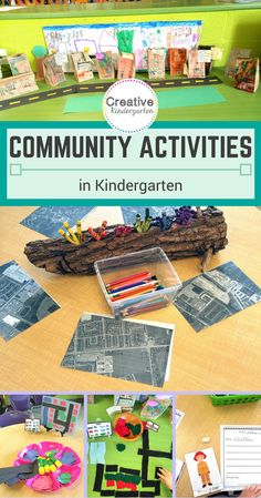 Learning about Communities in Kindergarten. Activities and center ideas to discuss the people and places in our community. Community Helpers Kindergarten, Community Helpers Activities, Kindergarten Social Studies, Kindergarten Projects, Kindergarten Themes, Social Studies Activities, Kindergarten Lesson Plans, School Community, Classroom Community