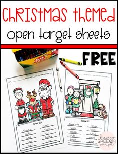 Are you looking for some easy, motivating resources during the busy holiday season? This open target worksheet is a must have for the busy SLP! Students will be motivated to color pictures as you work with students on a variety of speech and language targets. Use the blank word lists to included speech targets, seasonal vocabulary for objects, actions and concepts and any other lists you might need. Use during therapy sessions or send home for home reinforcement!