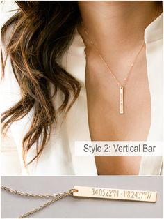 Bar Coordinates Necklace Custom Coordinates Personalized Graduation Gift Latitude Longitude Coordinates Jewelry GPS Bestfriend Gift by BlushesAndGold Gold Filled Jewelry, I Love Jewelry, Fine Jewelry, Body Jewelry, Jewellery, Perfect Gift For Her, Gifts For Her, Key Necklace, Gold Necklace
