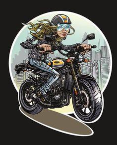 Motorcycle Types, Motorcycle Art, Bike Art, Design Kaos, Retro Scooter, Bike Drawing, Werewolf Art, Retro Shirts, Biker Chick