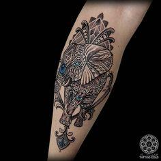 Custom mosaic flow elephant - on the calf - @hushanesthetic @inkjecta @stencilstuff #art #mosaicflow #tattoogold Tattoo shared by coenmitchell
