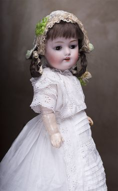 "15 3/4"" (40 cm.) Early German Bisque Child by Kestner Known as Square Tooth Model"