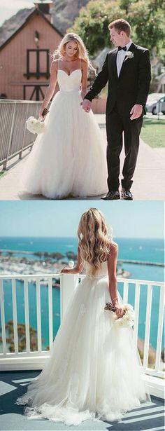 Pretty Wedding Dresses,Spaghetti Straps A-line Tulle Ivory Wedding Dresses,Summer Wedding Dresses,Beach Wedding Dresses,2018 Bridal Gown
