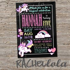 Unicorn, chalkboard, Birthday Invitation, Printable, DIY