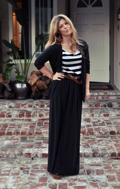 21 Ways to Style Your Maxi Dresses Maxi Skirts for Fall-Black maxi layered with black and white striped tee and black cardi