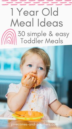 A list of 30 simple, easy, and fun 1 year old meals for toddlers including breakfast, lunch, and dinner. I'm a mom of two toddlers and am sharing some of my 1 year olds favorite meals for breakfast, lunch, and dinner. These 1 year old meal ideas are simple and nutritious and are made by a busy mom of two (i.e., they don't take a long time and no special chef skills are required.) Baby Led Weaning Breakfast, Baby Led Weaning First Foods, Baby Weaning, Baby Feeding Schedule, Baby Schedule, Healthy Toddler Meals, Toddler Snacks, 1 Year Old Meals, Starting Solids Baby