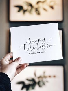 there's no better way to share love and joy during the holidays than sending christmas cards. with these minimalist and personalized christmas cards, you will be able to spread the love to your family and friends. Send Christmas Cards, Personalised Christmas Cards, Holiday Cards, Minimalist Christmas, White Ink, Happy Holidays, Hand Lettering, Place Card Holders, Joy