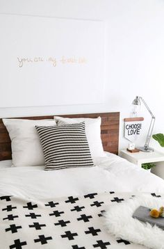 Chic ikea hacks to update your cheap furniture. Ikea hacks to take your bland furniture to chic. These 12 fashionista-approved DIY hacks will help you update your decor and make your Ikea purchases unique. For more DIY project ideas go to Domino. Cama Ikea, Ikea Headboard, Headboard Ideas, Diy Headboards, Reclaimed Headboard, Ikea Pillow, Bed Ikea, Malm Bed Frame, New Swedish Design