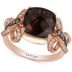 Elegant ribbons of round-cut diamonds and chocolate diamonds ct.) draw attention to the gorgeous cushion-cut smoky quartz ct.) this exceptional ring by Le Vian. Set in rose g Cushion Cut Diamond Ring, Round Cut Diamond Rings, Rose Gold Diamond Ring, Pink Gold Rings, Gold Rings Jewelry, Diamond Jewelry, Jewelry Box, Smoky Quartz Ring, Le Vian