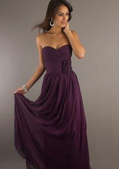 Sweetheart Sheath/ Column Chiffon Empire Floor Length With Flowers Evening Dress - Angeldress.co.uk