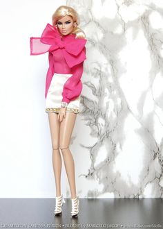 Chameleon Vanessa Perrin Hot Pink blouse by marcelojacob She's also wearing her own jewelry, skirt + shoes