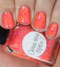 Lynnderella Come Here Often? -- neon orange, neon yellow, neon pink, red & iridescent & and shimmer in a neon orange-tinted base -- over NCLA I Only Fly Private | Peachy Polish