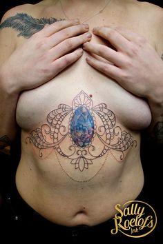 underboob gem stone tattoo done by tattoo artist Sally Roelofs Stone Tattoo, I Tattoo, Sally, Tattoo Artists, Gemstones, Gems, Jewels, Minerals