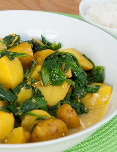 Spinach and new potato curry