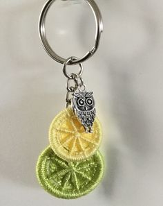 Keyring with Dorset Buttons in Green and Yellow with Owl Charm  £7.00