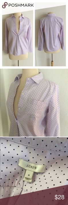 """J. Crew polka dot oxford J. Crew lavender polka dot button down. Oxford style- semi thick. Size 4. Measures 23"""" long with a 36"""" bust. Functional front pocket. Very great used condition!  🚫No trades 💲Reasonable offers accepted  ✅Bundle offers ⭐️ J. Crew Tops Button Down Shirts"""