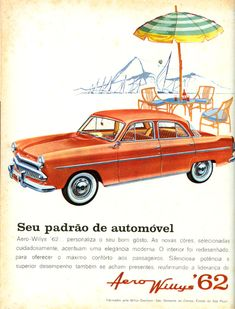 1962 Aero Willys ad. So you have been successfully making the Jeep and in 1952 introduce a  range of sedans. But 3 years later you cease production of the sedans. Then a brainwave, why not make this 3 year old design in Brazil, where it continued with minor modifications until 1962.