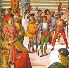 Pinturicchio (Bernardino di Betto Betti detto) - Enea Silvio Piccolomini viene incoronato poeta dall'Imperatore Federico III, dettaglio - affresco - 1502-1507 - Siena, Duomo, Libreria Piccolomini