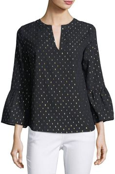 Collective Concepts Bell-sleeve V-neck Blouse In Blue/yellow Polka Dot Blouse, V Neck Blouse, Summer Tops, Cute Tops, Neiman Marcus, Bell Sleeves, Fashion Dresses, Clothes For Women, Cotton