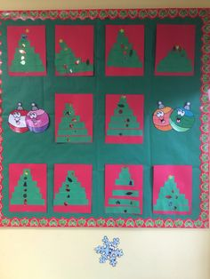 My preschool bulletin board for December/Christmas. 6 strips of green paper Star and ornament stickers  Red paper