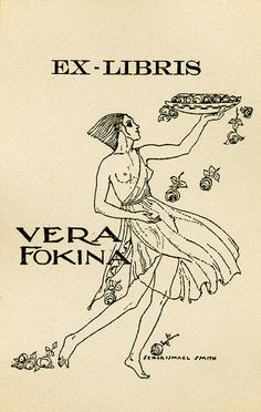 Bookplate by Ismael Smith for Vera Fokina