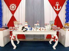 Cortinas Fiesta Baby Shower, Baby Boy Shower, Baby Party, Baby Shower Parties, Nautical Party, Nautical Wedding, Baby Showers Marinero, Sailor Baby Showers, Sailor Party