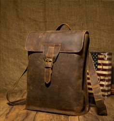 Handmade Leather Backpack /Vintage Leather Macbook Briefcase 2-in-1 Leather School Bag Backpack (M101)
