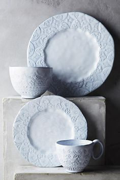 Etched Geo Dinner Plate - beautiful light blue ceramic plates. perfect for a farmhouse kitchen or shabby chic kitchen! anthropologie.com