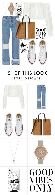 """""""WHITE SNEAKERS #6"""" by kkaey ❤ liked on Polyvore featuring Elizabeth and James, Current/Elliott, Converse, Clare V., Marc Jacobs, Olivia Burton and Casetify"""