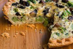 Broccoli Mushroom and Gouda Quiche #Healthy #recipe #vegetarian