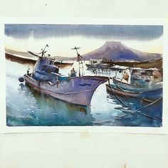 Amazing #nautical #watercolor #painting by Yoshihito Toda (@2014kiroku on Twitter) of two #fishing #boats off the coast of Shigetomi Port in Kagoshima Japan. The slight distortion in this #illustration is really interesting. It's like you're looking through a #fisheye lens. Love the color #palette too.  Yoshihito shows some great skill in this painting in the way that he depicts the slight #reflections in the #water's surface and the slight variations in each #boat's #shadow. He appears to…