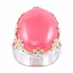 Rhodochrosite and ruby ringPalladium silver and 18-karat yellow gold vermeil jewelry Click here for ring sizing guide