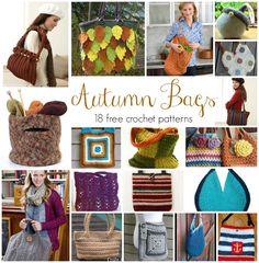 Autumn Bags! 18 Free Crochet Patterns, roundup on Fiber Flux