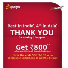 Flat Rs.800 OFF SpiceJet Tickets