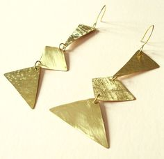 Brass earrings Lady Brass lamina with different by simplyhelena
