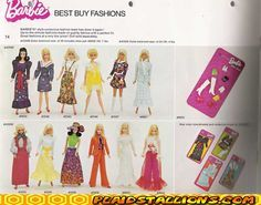 Best Buy Fashions from the 70's ||  http://www.plaidstallions.com/mattel/73barbie5.jpg