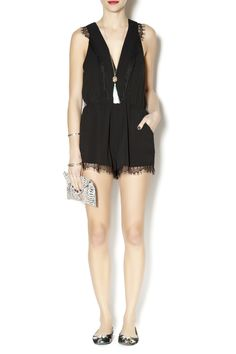 Black lace trim romper