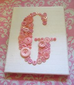 Personalized Nursery Wall Art Baby Monogram in Buttons on Canvas -- Your Choice Button Color on Ivory or White Silk