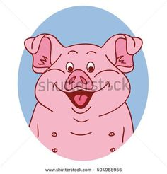 Pig face. Pig isolated. Pig portrait on white background, happy character piggy. Cartoon pig looks out from the blue hole. Vector illustration