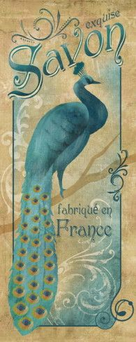 """Vintage Peacock Poster Print .... fabrique en France .... """"Exquise Savon Art Print"""" available at AllPosters."""