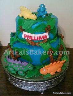 Boys edible dinosaurs and tree creative unique birthday cake design