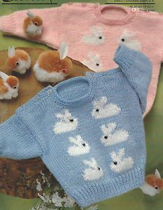 Baby-Sweater-Knitting-Pattern-with-Bunny-motif-in-DK-18-20-034-392-Double-Knitting