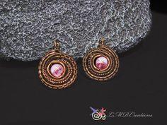 Pink Cat Eye Dangle Earrings Vintage Bronze Wire by LMRCreations2