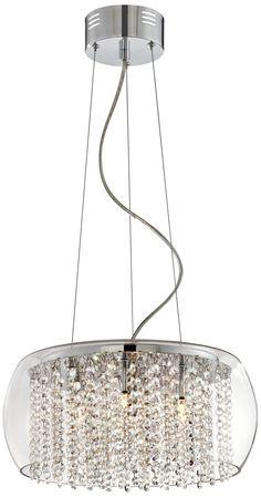 Rainfall Glass Drum Crystal Chandelier Light - EuroStyleLighting.com $399