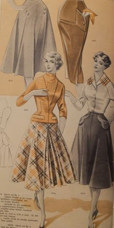 1950s German skirt pattern. I especially love the yellow-gold jacket/blouse with the plaid skirt.  Lovely combo.